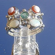 Sterling Emerald/Opal/Sardonyx Stacking Rings