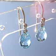 14kt Powder Blue Topaz Briolette Dangle Earrings
