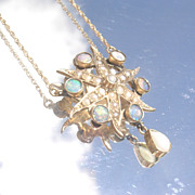 14kt Vintage Seed Pearl/Fiery Opal Starfish Pendant with Chain