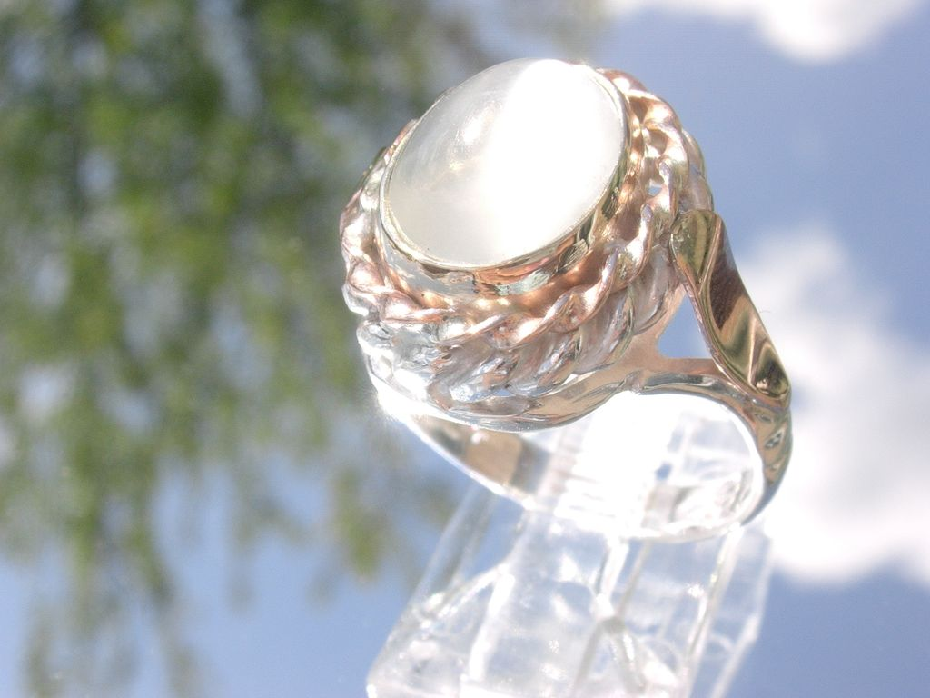 Sterling/9kt Pink Gold Light Grey Moonstone Ladies Ring
