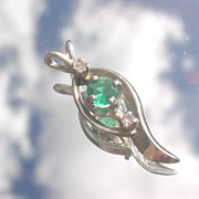 14kt White Gold Petite Emerald/Diamond Pendant