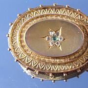9kt Victorian Emerald/Rose Cut Diamonds  Brooch