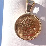 22/14kt Vintage St. George/Queen Elizabeth Coin Pendant