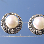 Sterling/9kt  Gold Round Textured Sterling Freshwater Pearl Stud Earrings