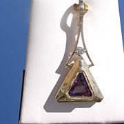 14kt Yellow Gold Vintage Amethyst/Diamond Pendant