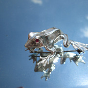 Sterling Frog/Ruby Eyes Brooch Combination Pendant with Sterling Chain