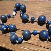 Royal Blue with Pyrite Multi Lapis Lazuli Bead Sterling Necklace