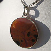 Sterling Silver Round Brown/Black Agate Pendant with Chain