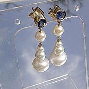 14kt  Artisan Sapphire/Multi Freshwater Pearl Dangle Earrings