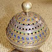 Large Ornately-made Silver Berber Enameled Incense Burner