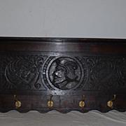 Spanish Antique Hand Carved Wood Coat-rack, Figural Decor