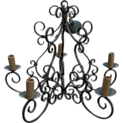 French Antique Quality Scrolled Wrought Iron Original Painted Chandelier