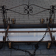 Rare Huge Art Nouveau Quality Wrought Iron & Glass 14-light Chandelier