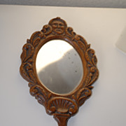 Lovely Antique Carved Wood Figural / Floral  Hand Mirror