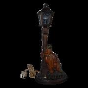 Nice Quality Vintage Carved Wood Best Black Forest Figural Table or Desk Lamp Stand