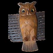 Rare Vintage Black Forest Carved Wood Owl Tie Wall Rack