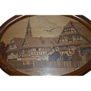 Vintage French Marquetry Wood Art Tray with Village Decor