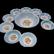 Vintage Porcelain Master Fruit Bowl with 9 Serving Bowls