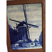 Large Framed Porcelain Tile Panel of Delft Blue & White Windmill Scene