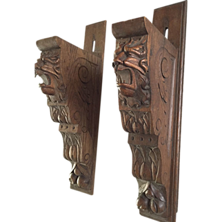 Pair Oak Carved Wood Wall Brackets Shelf Supports w. Lion Heads