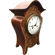 Art Nouveau Style Walnut Mantel - Bracket Clock with Inlaid Floral Design