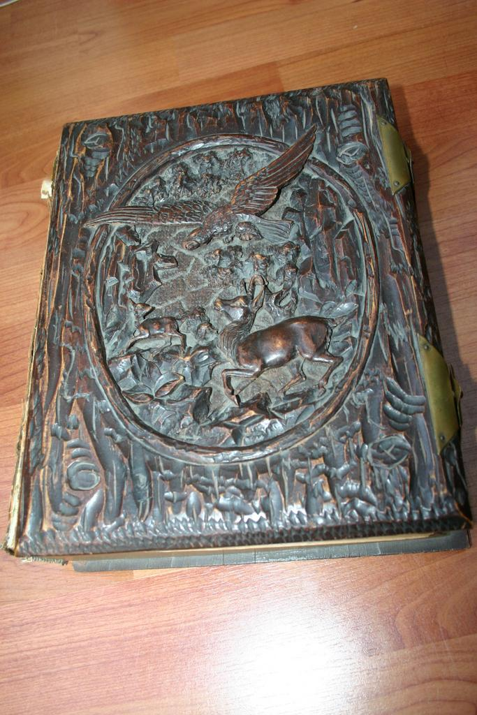 Antique Carved Wood Black Forest Musical Photo Book