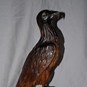 A Fabulous Old Carved Wood Black Forest Eagle Sculpture