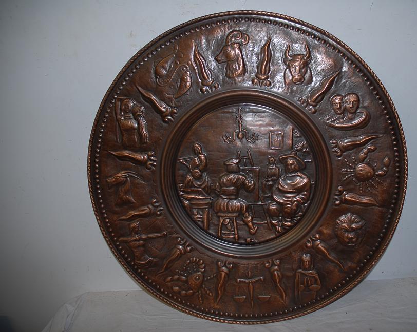 An Antique Copper Decorative Wall Relief / Plate, portrait painter