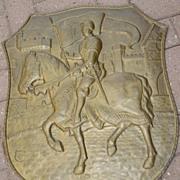 An Copper Decorative Wall Relief / Plate, knight decor
