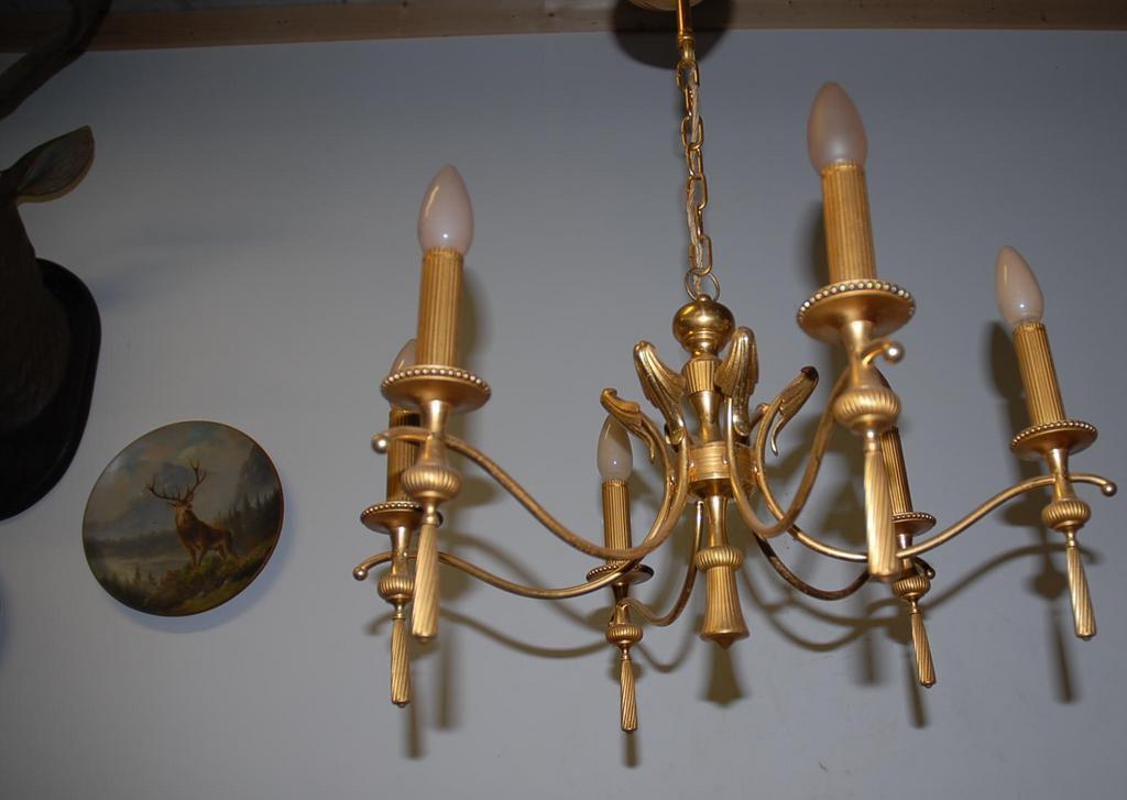 An Old Bronze 6 light Chandelier