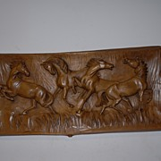 "A Fine Carved Wood Wall Relief  ""A Group Wild Horses"","