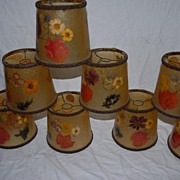 A Handmade Vintage Set of 8 Inlaid Dry Floral / Leave Shades