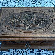 An Antique Carved Wood(walnut) Swiss Black Forest Jewelry Box