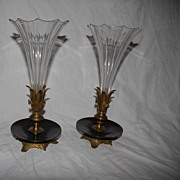 A French Pair Antique Bronze / Crystal Vases