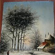 An Antique Painted Winter Landscape on Wooden(oak) Panel