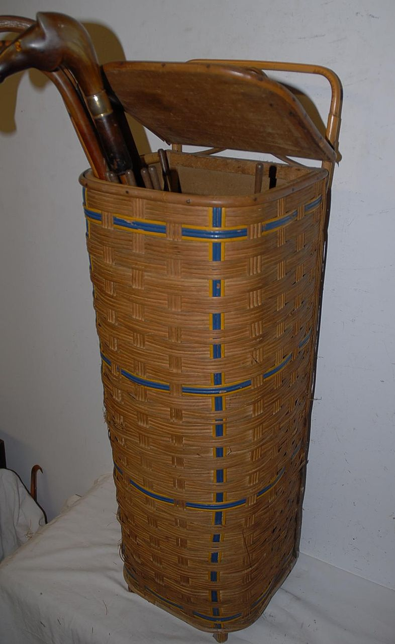 An Original Wooden/Reed baguette basket