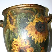 A large Antique Vase Painted with Sun Flowers Decor