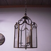 A Huge French Antique Bronze Hanging 3-light Hall Lantern / Fixture