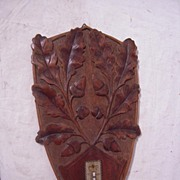 Antique Carved in Wood Black Forest Leaves Wall Plaque Thermometer