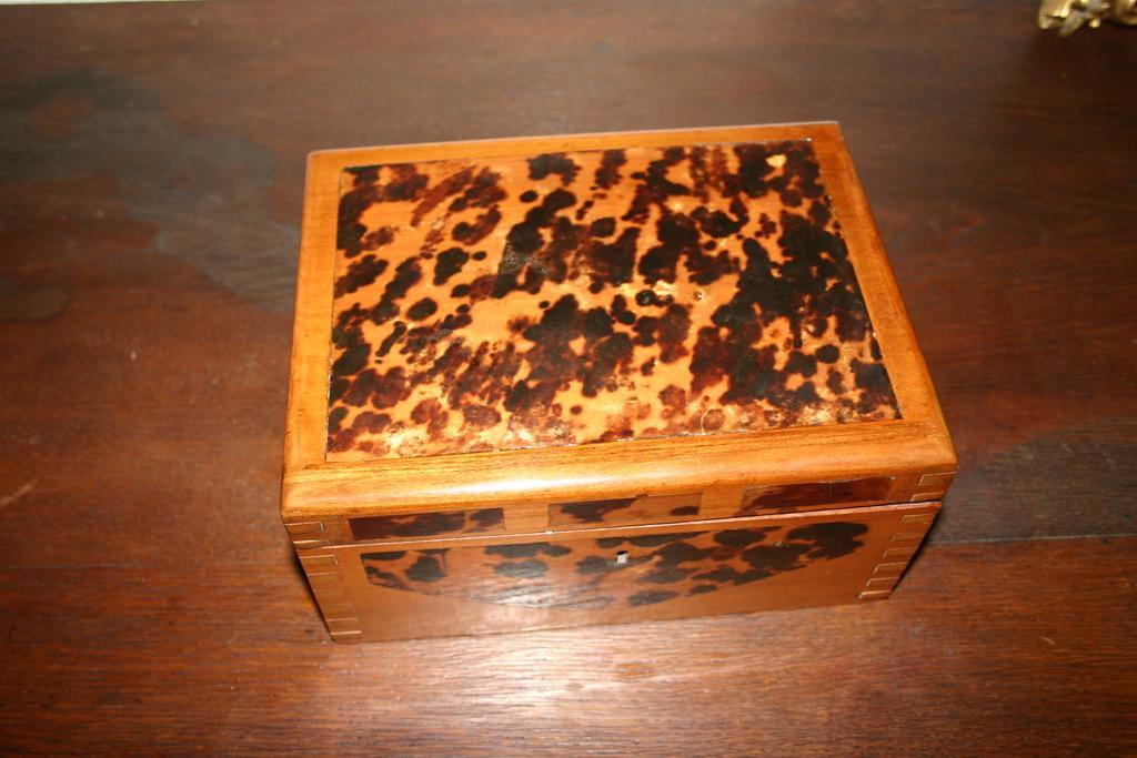 Art Deco Wooden/ Faux Tortoise Jewelry or Treasure Box