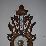 Antique Hand Carved in Wood Wall Barometer