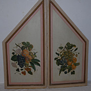 Decorative Antique Pair Fine Hand Painted Wooden Wall Panels, Floral Fruit