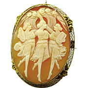 Three Graces Cameo Pendant-Brooch c. 1915