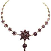 Antique Victorian Era Bohemian Rose Cut Garnets Necklace ~ circa 1880's