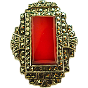 """Art Deco Sterling Silver Carnelian & Marcasites Large Scale Ring  ~  Size 6 ½"""""""
