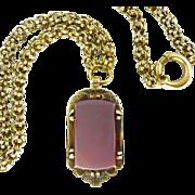 Renaissance Revival 14K Gold Hardstone Locket Fob on 14K Fancy Chain ~ 21.8 Grs.