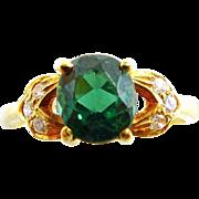 14K Yellow Gold Green Tourmaline Ring with Diamonds