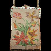 HUGE REDUCTION Vintage 1920's Floral Beaded Purse Jeweled Frame