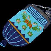 Vintage Blues Floral Beaded Purse Greek Key Border Floral