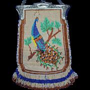 Vintage Beaded Peacock Purse